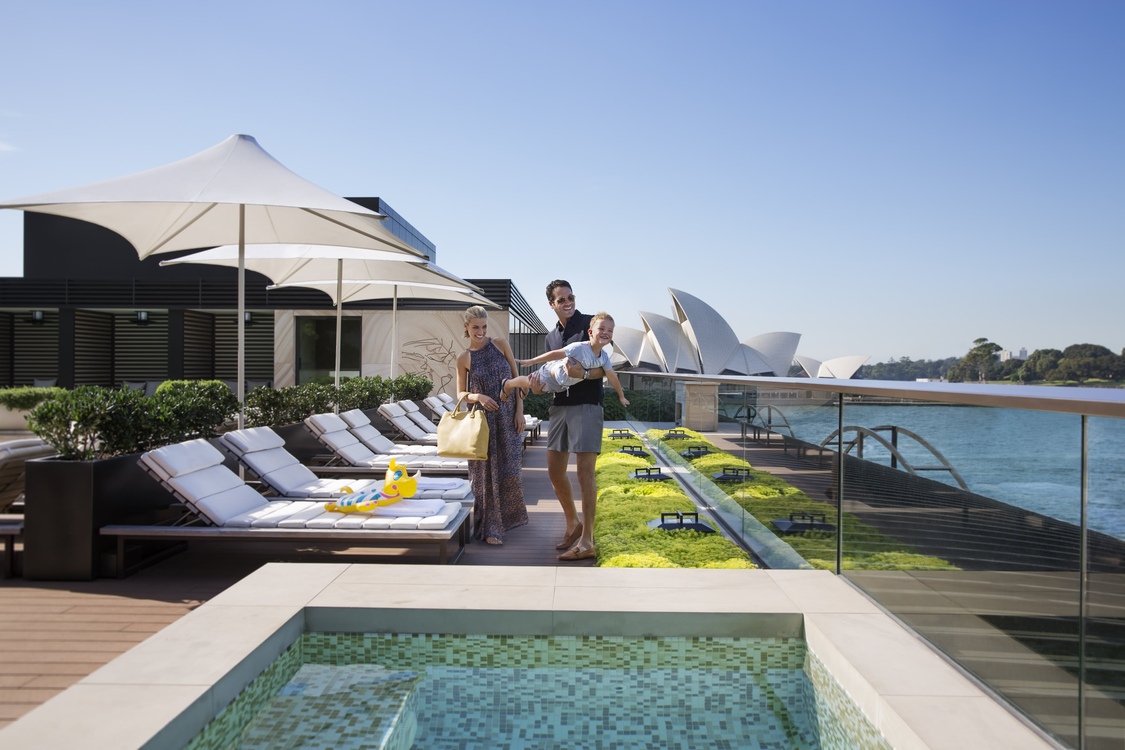 Park Hyatt's rooftop swimming pool with sweeping views of Sydney Harbour